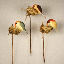 "6 Pieces Artificial Bird In Nest Floral 3"" Long 12001894029"