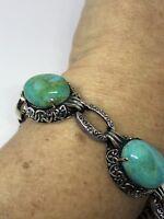Vintage 925 Sterling Silver Natural Turquoise Gemstones Statement Bracelet
