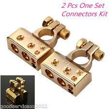 Pair Positive&Negative Car Battery Terminal Connectors 0 2 4 8 AWG Gauge Golden