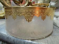 belle ancienne grande coupe en cristal taillé et etoilé decor doré style empire