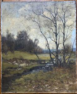 Tableau Paysage de Campagne Peinture XIXème Huile signée Henri Rousseau ?