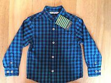 BNWT John Lewis Boys Navy & Teal Cotton Check Shirt Age 2