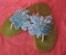 Kate Spade Jelly Flip Flops Thongs Green/Blue w/Large Flower from Italy Sz 9