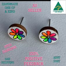 Rainbow Colourful Painted Daisy Flower Neon Bright Art Retro Studs Earrings Gift