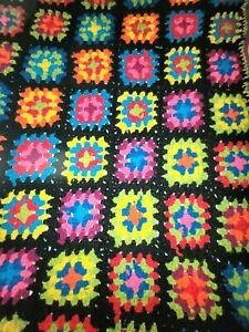 """Granny Square Afghan Crochet Handmade Blanket 55"""" x 41"""" Rosanne Vintage"""