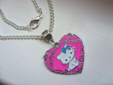 Lovely Large Hello Kitty Heart Silver Curb Chain Necklace