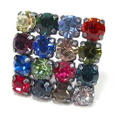 SoHo® bunte Brosche geschliffene Kristalle Quadrat kunterbunt Farbe auf Wunsch