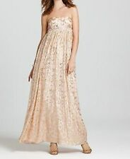 Aqua Dresses Dress Sz 12 Blush Strapless Jacquard Full Gown Pearl Beads Waist