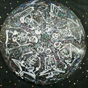 "Skeletons Skulls Original Painting On 12"" Vinyl Record Glitter Gothic Punk Art"