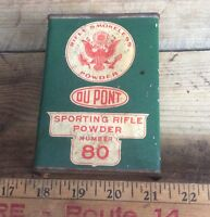 Vintage Empty DuPont Smokeless Rifle #80 Can, Paper Advertising , Metal Can