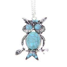 Fashion Retro Owl Turquoise Crystal Eyes Long Charm Pendant Necklace Rhinestone