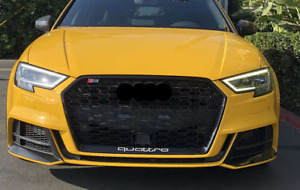 Audi A3/S3/RS3 (8V) Facelift Gloss Black Honeycomb Grille With ACC
