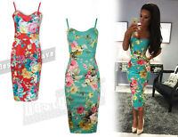 Womens Green Summer Dress Jade Mint Ladies Floral Bodycon Celeb 8 10 12 14 16 26