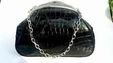Brighton Patent Leather Handbag Purse Clutch C932984 With Key Ring Black E.C.