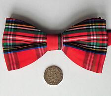 Red tartan bow tie Royal Stewart Scottish plaid Collar size 13-19  inch Tie Rack