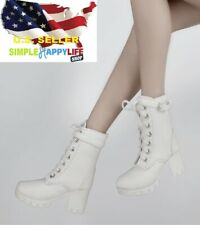 "1/6 Female Short white Leather Boots For Phicen Hot Toys 12"" figure Poptoys❶USA❶"