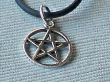 """STERLING SILVER 15mm PENTANGLE PENDANT on a 18"""" BLACK RUBBER CORD £9.50 NWT"""