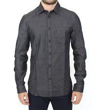 NEW $440 ERMANNO SCERVINO Shirt Gray Stretch Denim Jeans Cotton Casual IT50 / L