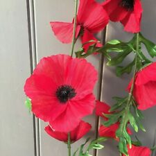 Artificial Red Poppy Garland 6ft with 22 Realistic Poppy Flowers.