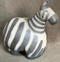 The Fenix Raku Pottery Zebra Figurine Hand Made in South Africa Rare Chubby Size