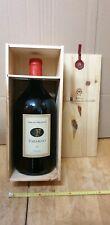cassa di legno del vino Tarabuso Bolgheri con  bottiglia vuota da 3 litri