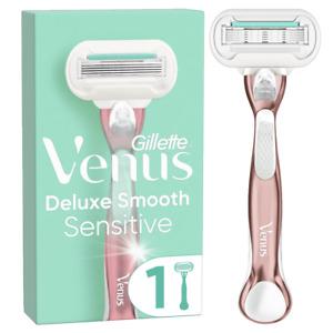 Gillette Venus Deluxe Smooth Sensitive - Rose Gold Metal Razor + 5 Blades Refill