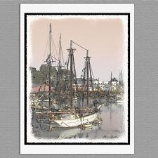 6 Camden Harbor Ship Maine Coast Blank Art Note Greeting Cards
