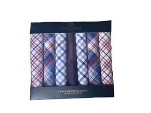 7 pack ExDebenham Osborne luxury fine Cotton Multi colour check Handkerchiefs