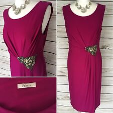 Ladies Magenta Pink Semi Fitt Ruched Side Formal Evening Dress 14 UK By Precis