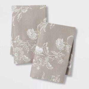 Threshold  Performance Printed Pillowcases 400 Thread Count Standard Khaki