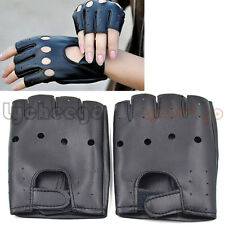 1 Pair Leather Half Finger Gloves Fingerless Motorcycle Driving Rock Punk Gift