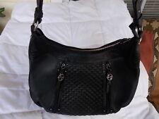 Maxx New York Pebble Leather Hobo Bag with Croco Leather Trim Purse Black