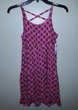 NWT Old Navy Girls 10-12 Tiered Summer Sun Dress PINK & GARNET Sun Dress  #26417