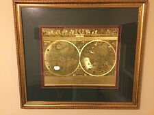 "Vintage Framed Gold Foil Blaeu Wall Map of Old and New World 34"" By 29"""