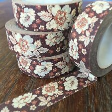 WASHI TAPE SEPIA FLORAL 15MM WIDE X 10MT ROLL SCRAP PLAN CRAFT WRAP