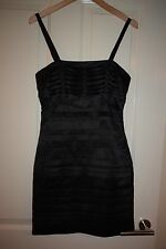 Lipsy Stunning Black Pleated Satin Dress Size 8
