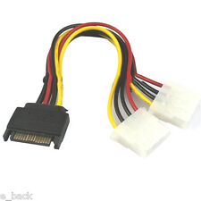 15 Pin Hard SATA Male to 2 Female 4 Pin Molex Female IDE HDD Power Drive Cable s