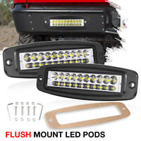 "Flush Mount Work Light Pods 2x 6In CREE LED 120W SUV UTE Bumper Reverse Lamps 7"""
