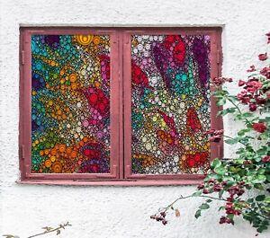 3D Rainbow Spots R185 Window Film Print Sticker Cling Stained Glass UV Su