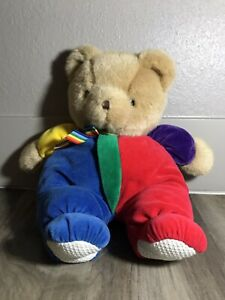 "Vintage 13"" EDEN Teddy Bear Plush  90s Velour Primary Colors Rainbow Bow"
