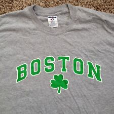 NBA Boston Celtics Jerzees Gray Men's Shirt Cotton Blend Basketball Tee Shamrock