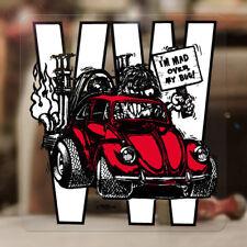 "Mad over my bug Ed Roth sticker decal bus samba beetle bug aircooled red 3.75"""