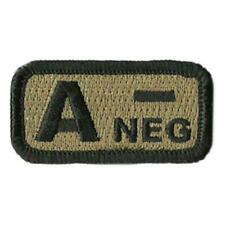 """Velcro® Brand Hook Fastener Compatible Patch Blood Type A- Neg Coyote 1x2"""""""