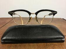 Vintage Mid Century Aluminum Horn Rim Browline Metal Retro Atomic Eyeglasses