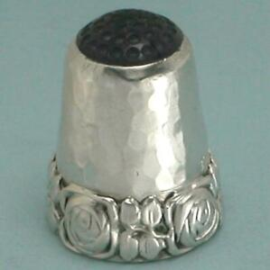 Antique Stone Top Sterling Silver Roses Thimble * Germany * Circa 1920