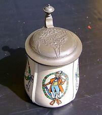 Jugendstil Art Noveau Patentierter Zinndeckelkrug Steinzeug Handbemalt 0,5 Liter