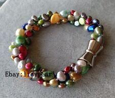Süßwasser Perle Armband, 3 Stränge 6-9 mm Mehrfarbig Barock Perle Armband