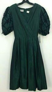 NWT VTG 80s Albert Nippon Green Silk Blend Mid Length Formal Dress Womens Sz 8
