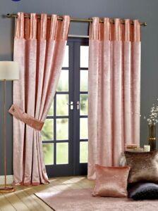 "New Velvet Splash Top Border Eyelet Lined Curtains Studio Pink Size 46 x 72"""