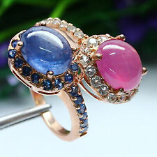 NATURAL PINK RUBY, BLUE SAPPHIRE & WHITE TOPAZ RING 925 STERLING SILVER